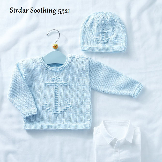 Sirdar Snuggly Soothing DK Pattern 5321 - Pullover and Hat with Anchor Motif