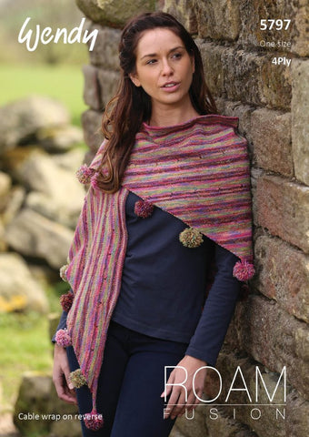 Wendy Roam Fusion Knitting Pattern 5797 - Cable Wrap & Pompom Shawl