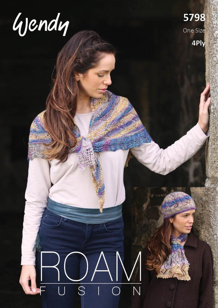Wendy Roam Fusion Knitting Pattern 5798 - Shawl, Hat & Cravat