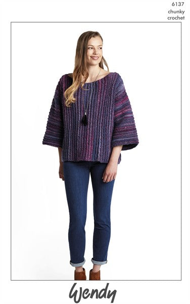 Wendy Botanics Chunky Pattern 6137 - Oversized Boxy Crochet Sweater