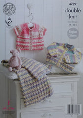 King Cole Drifter DK for Baby Pattern 4797 - Cardigans & Blanket