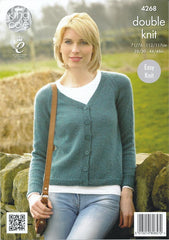 King Cole Panache DK Pattern 4268 - Raglan Cardigan & Sweater