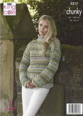 King Cole Drifter Chunky Pattern 5317 - V & Funnel Neck Sweaters
