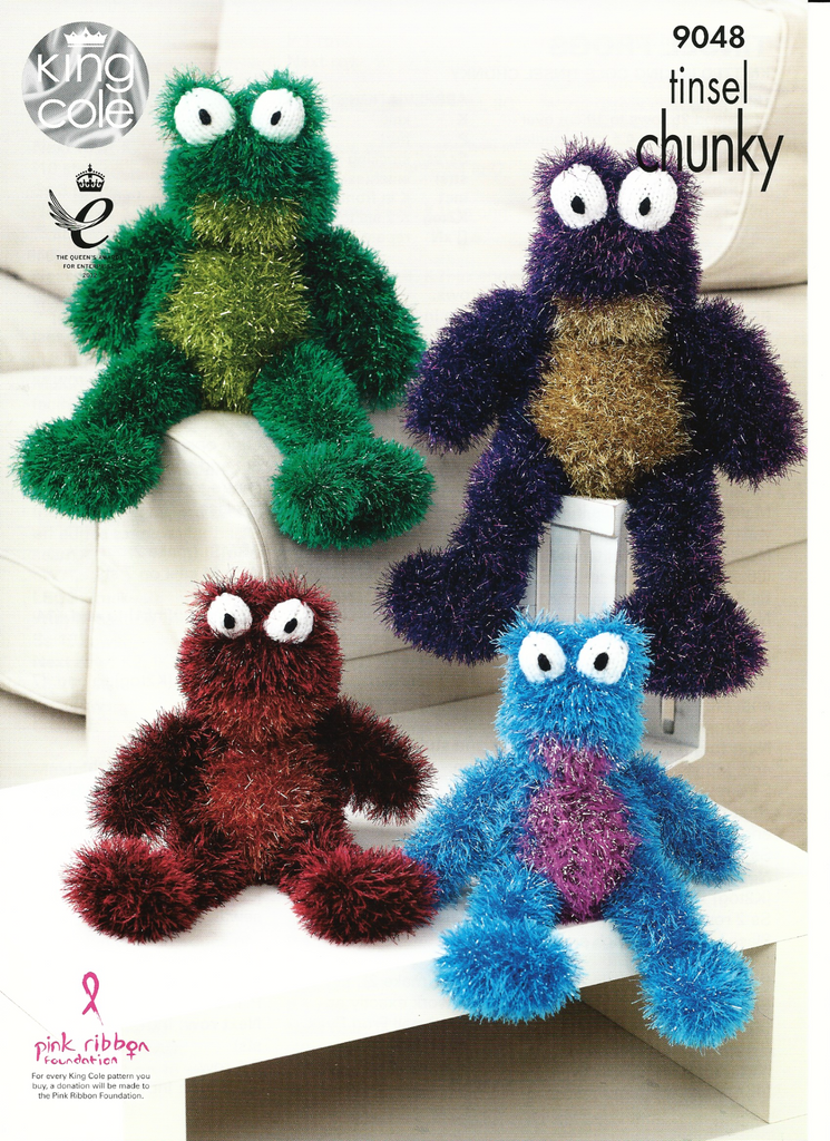 King Cole Tinsel Chunky Knitting Pattern 9048 - Range of Frogs