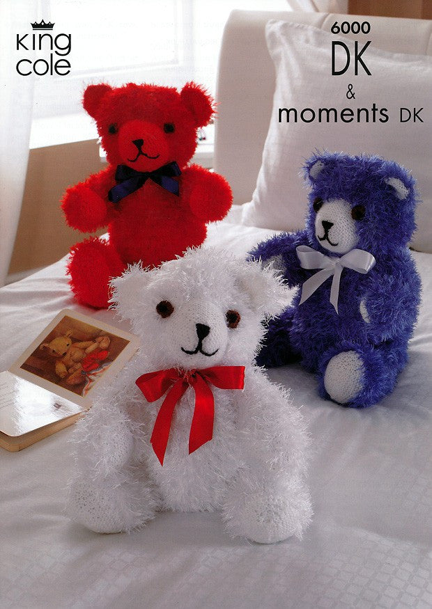 King Cole Moments & DK Knitting Pattern 6000 - Teddy Bears