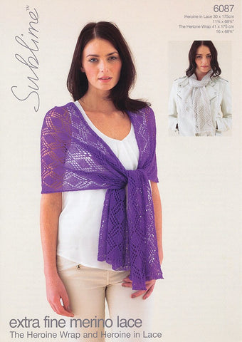Sirdar Sublime Pattern 6087: Wrap and Scarf in Lace