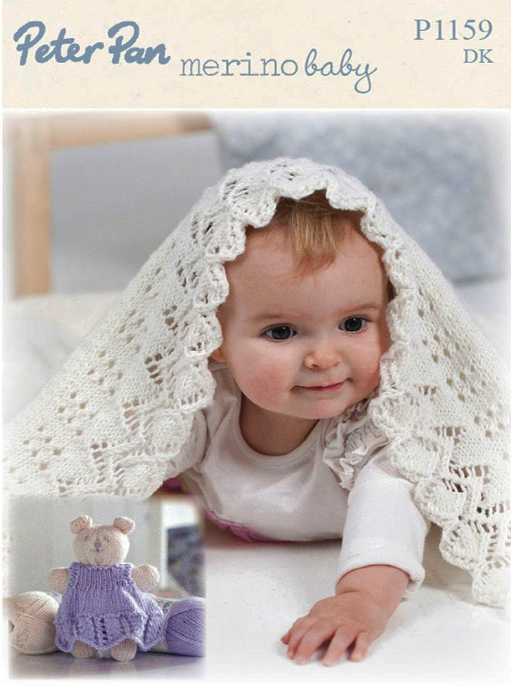 Peter Pan Merino Baby Knitting Pattern P1159  - Blanket & Teddy