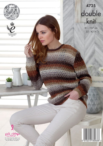 King Cole Shine DK Pattern 4725 - Sweater & Cardigan
