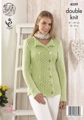 King Cole Giza Cotton DK Pattern 4529 - Top & Cardigan