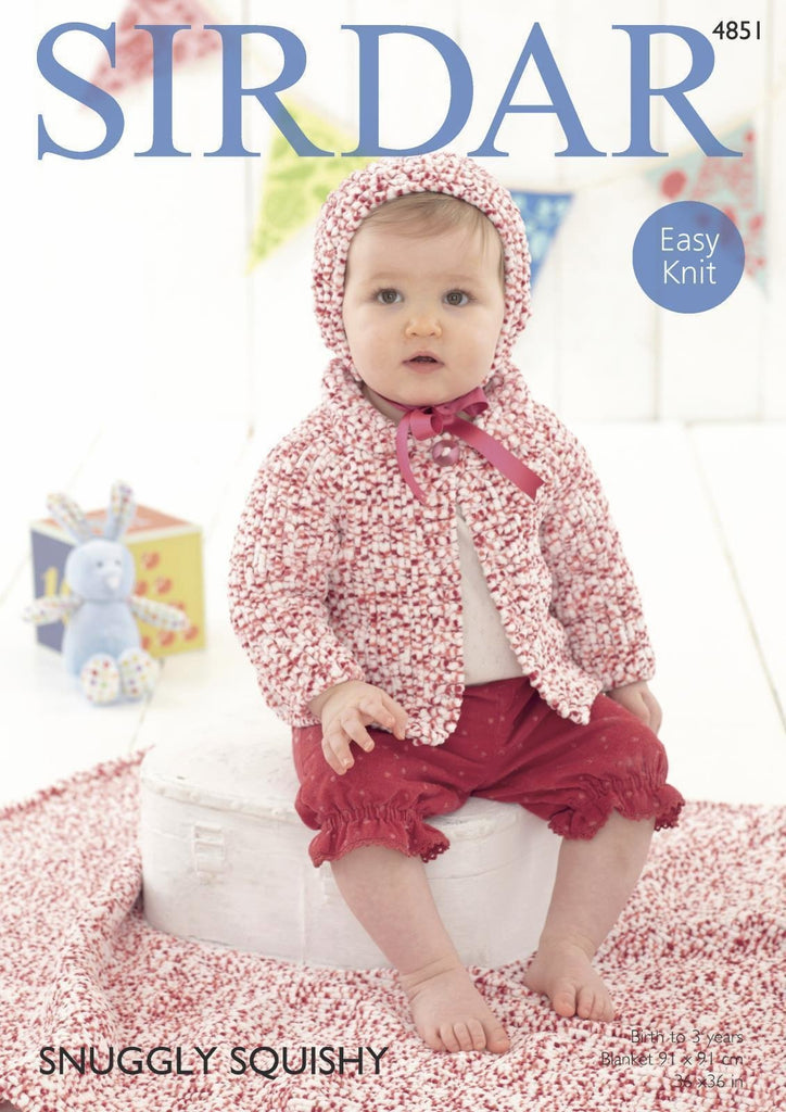 Sirdar Snuggly Squishy Pattern 4851 - Jacket, Bonnet & Blanket