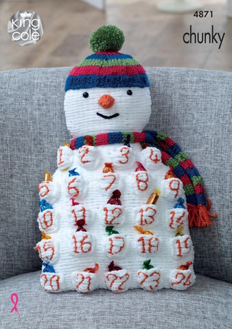 King Cole Big Value Baby Chunky, Yummy, Cuddles & Dollymix Pattern 4871 - Snowman & Santa Advent Cushions