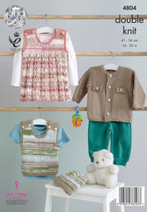 King Cole Cherish & Cherished DK Pattern 4804 - Jacket, Pinafore Dress, Tank Top & Hat