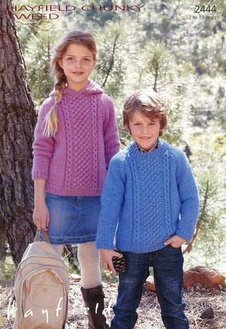 Hayfield Chunky Tweed Pattern 2444 - Children's Round Neck & Hooded Sweaters