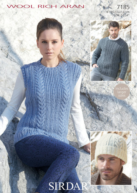 Sirdar Wool Rich Aran Pattern 7185 - Sweater, slipover & hat - NOW ONLY €1.00
