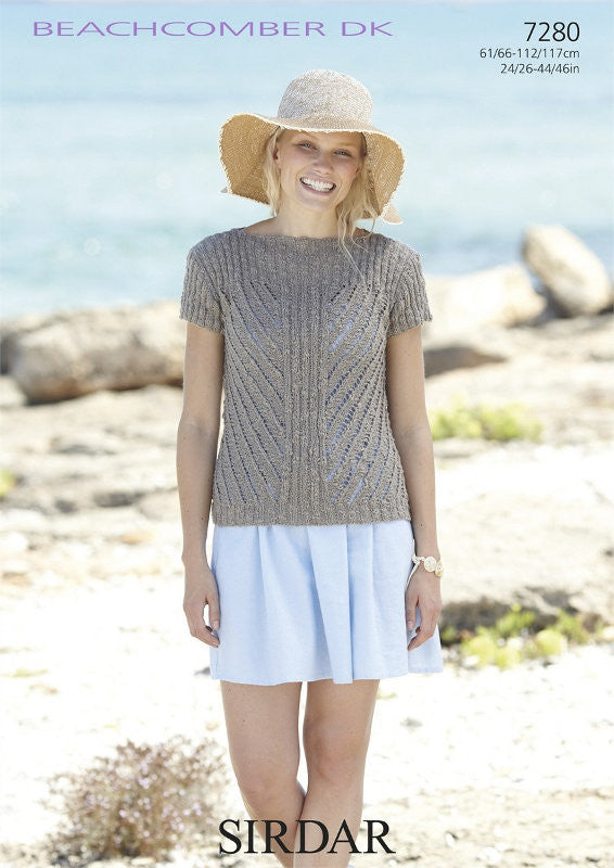 Sirdar Beachcomber DK Pattern 7280: Slash-Neck Top