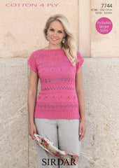 Sirdar Cotton 4 Ply Pattern 7744 - Womens Top