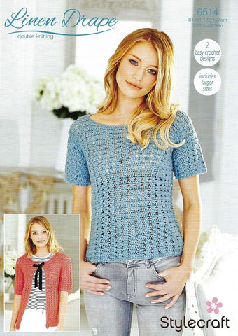 Stylecraft Linen Drape DK Crochet Pattern 9514 - Lace Top & Cardigan