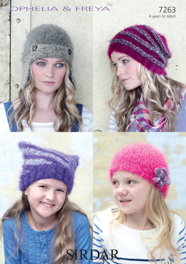 Sirdar Pattern 7263: Hats in Ophelia & Freya