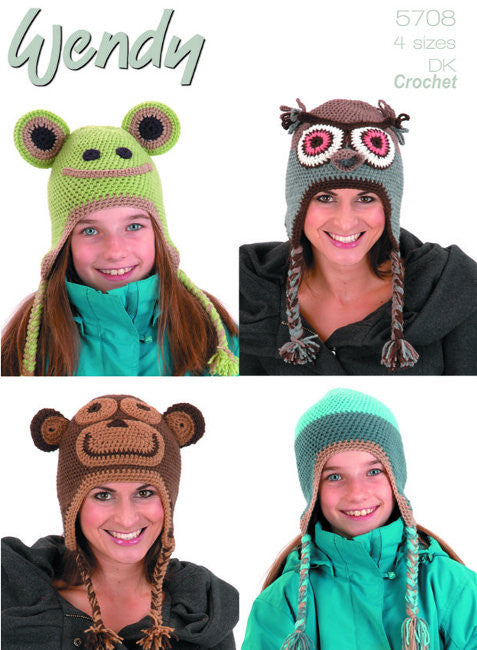 Wendy Mode DK Crochet Pattern 5708: Animal Hats