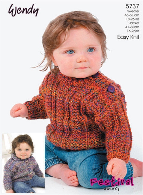 Wendy Festival Chunky Pattern 5737 - Ribbed Sweater and Jacket