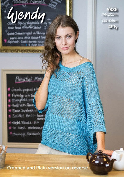Wendy Supreme Cotton 4 ply Pattern 5886 - Mesh Tops