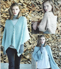 Wendy Pixile DK Pattern 5985  - Knitted Ladies Shrug, 3-way Buttoned Wrap & Wristwarmers