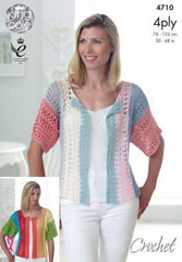 King Cole Giza Cotton 4 Ply Pattern 4710 - Crochet Top & Cardigan