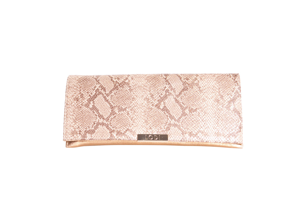 Lodi Gold Clutch Handbag with Snake Design