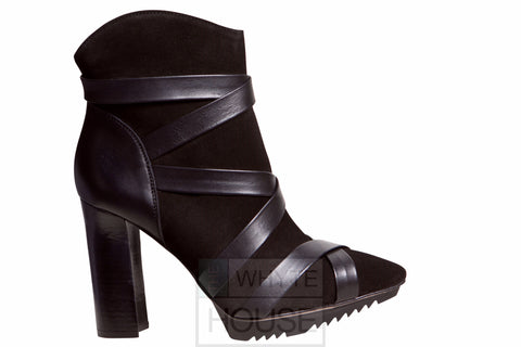 Pepe Castell Black Ankle Cross Strap Boot