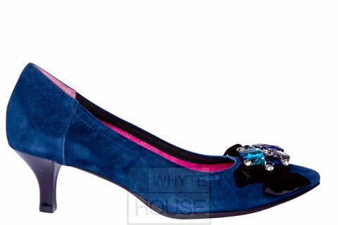 Le Babe - Navy Blue Kitten Heel Suede Shoe with Jewel