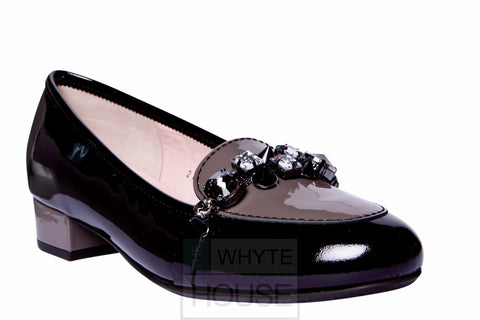 Le Babe Black and Beige Jewel Court Shoe