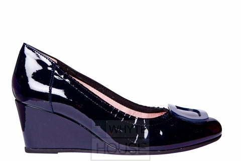 Le Babe Navy Patent Wedge Shoe
