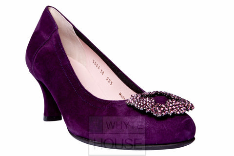 Le Babe Plum Suede Kitten Heel with Jewel