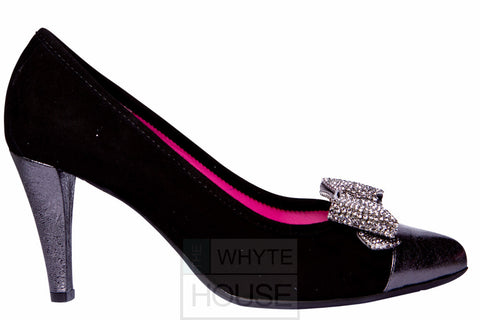 Le Babe Black/Slate High Heel with Diamante Bow