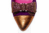 Le Babe Plum/Gold High Heel with Diamante Bow