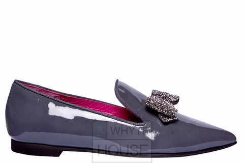 Le Babe Grey Diamante Flat Patent Shoes with Bow
