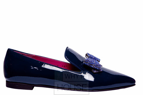 Le Babe Navy Diamante Flat Patent Shoes with Bow