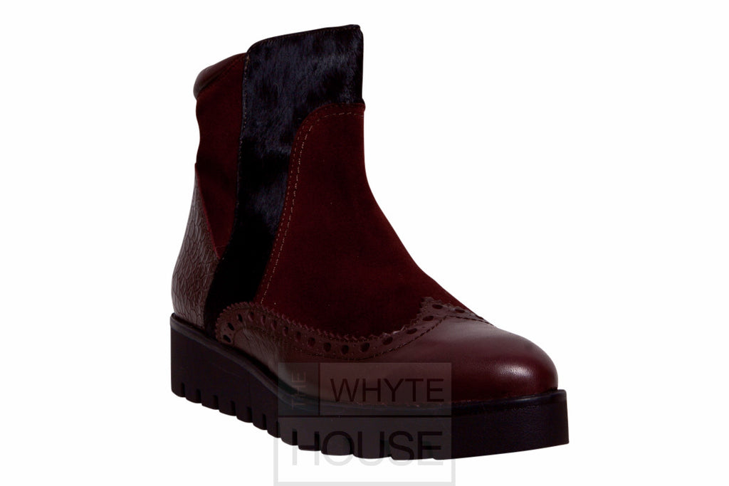 Burgundy Flat Ankle Boots with suede and sparkle