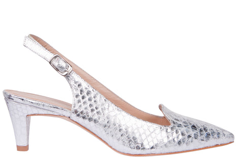 Pepe Castell Silver Sling Back Shoe