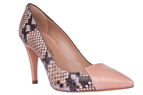 Pepe Castell Leather High Heel in Snake Print & Rose