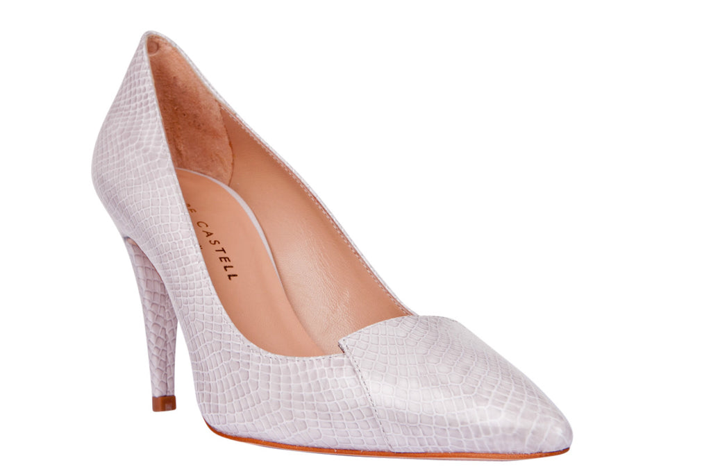 Pepe Castell Snake Pearl Grey High Heel