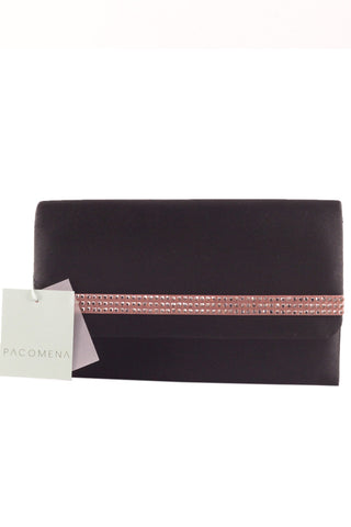 Clutch in Black Satin with copper coloured jewels