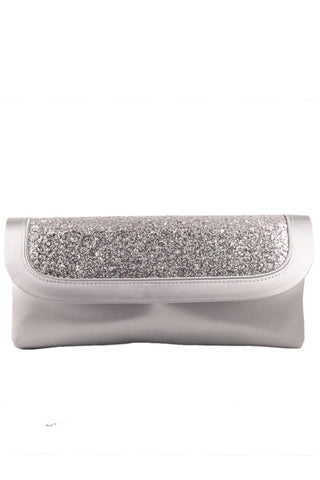 Clutch in opal and with silver glitter design