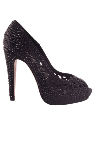 Stiletto heel platform with peep toe Black