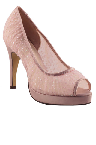 Stiletto heel platform peep toe shoe in Makeup Pink
