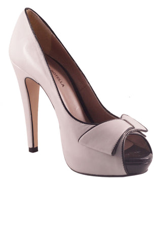 Classic stiletto heel platform peep toe shoe White