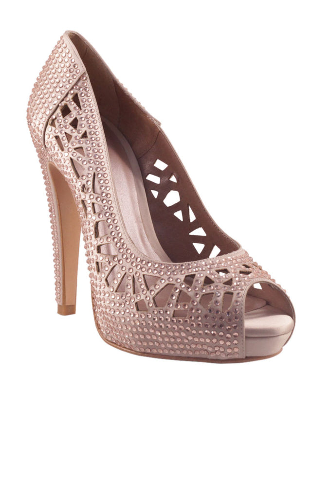 Stiletto heel platform with peep toe Nude