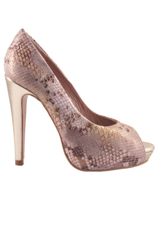 Stiletto heel platform peep toe shoe Golden Snake