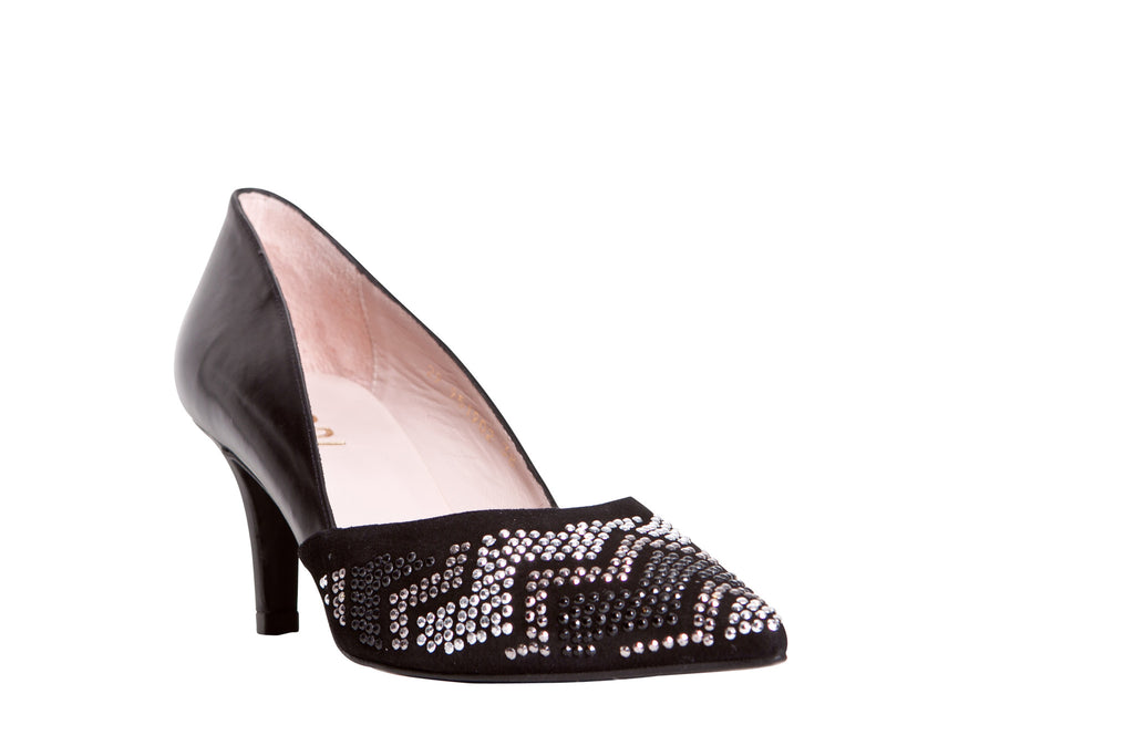 Lodi Black Low Heel with Silver and Gold Studded Design