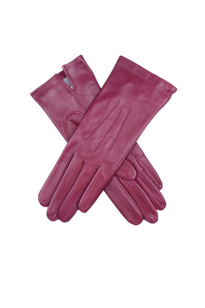 Silk lined plain leather glove
